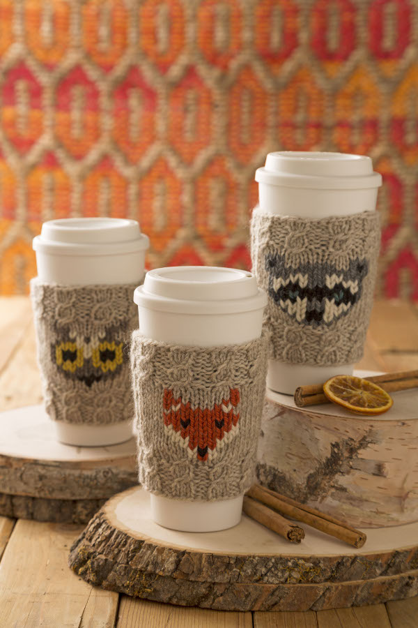 knit a woodland creature coffee cup cozy