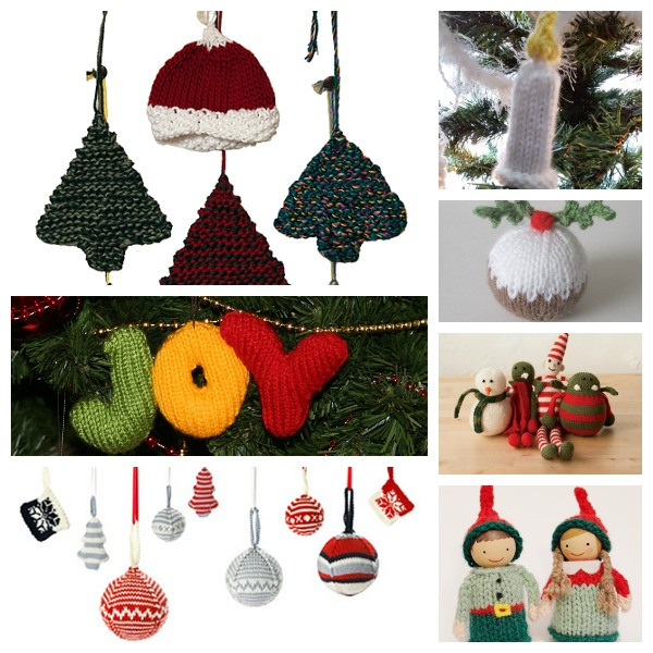 a collection of free christmas ornaments to knit