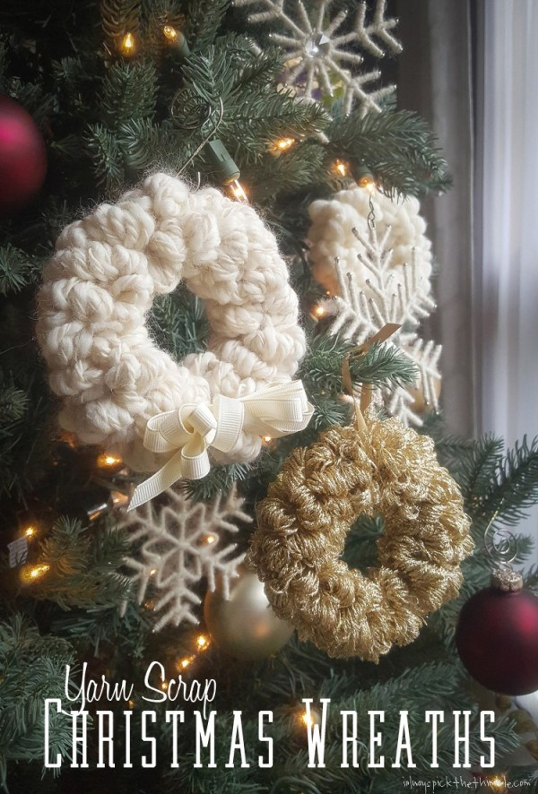 no knit yarn wreath ornaments
