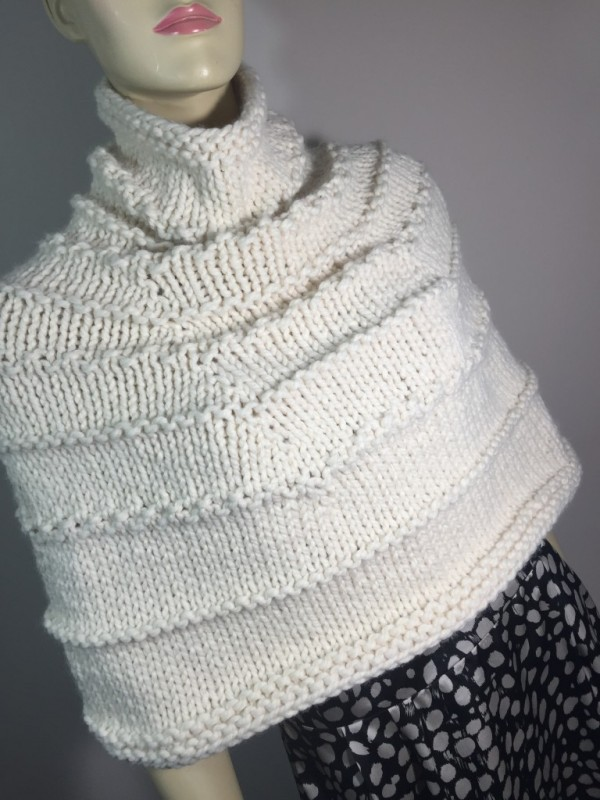 Knitting Pattern For Turtleneck Poncho : Knit a Super Warm Turtleneck Style Capelet   Knitting