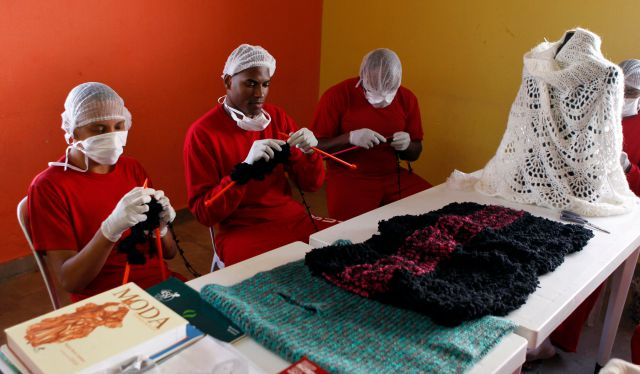 Inmates at one prison in Brazil knit for a fashion designer for reduced sentences.
