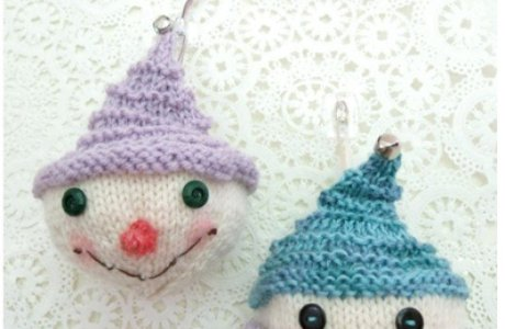 Knit Little Snowman Holiday Ornaments