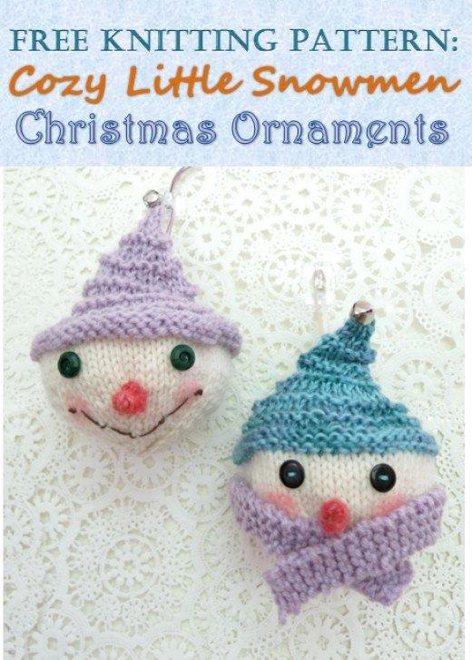 Easy knit snowman ornaments.