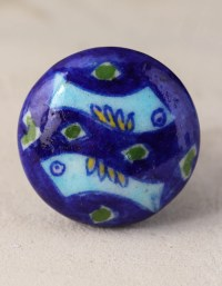 Blue and Turquoise Fish Bathroom Cabinet Knob | Knobco