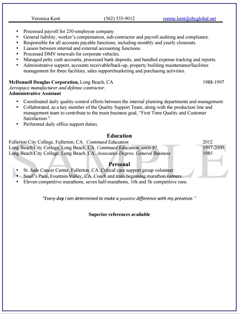 Knock Em Dead Professional Resume Writing Services - Payroll Auditor Sample Resume