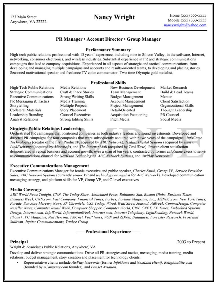 Knock Em Dead Professional Resume Writing Services - Pr Resume Sample