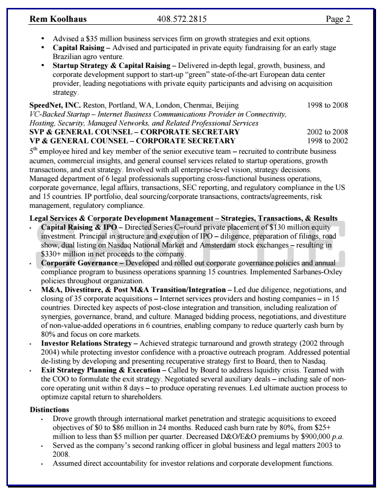 sample resume assistant general counsel