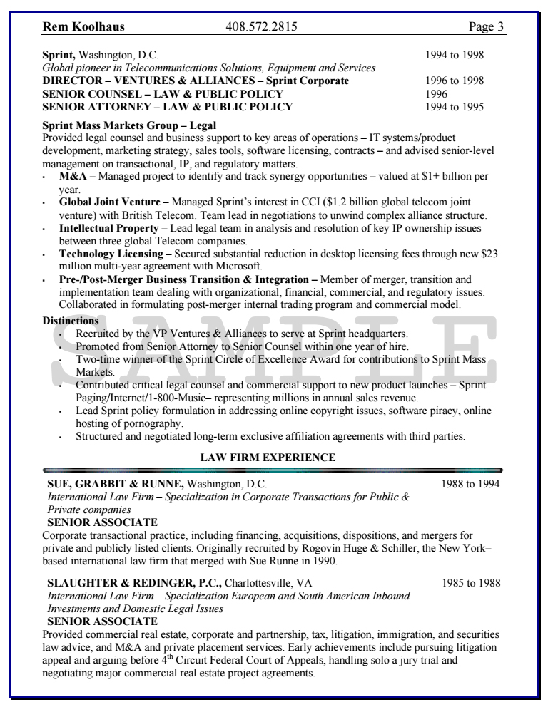 Erisa attorney sample resume
