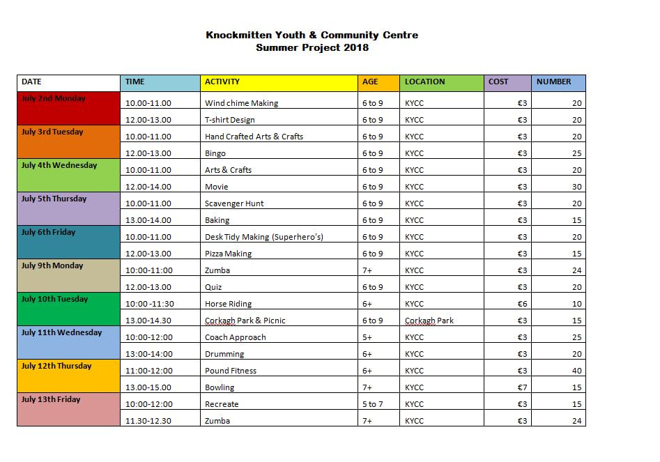 News  Events - Knockmitten Youth  Community Centre - project timetable