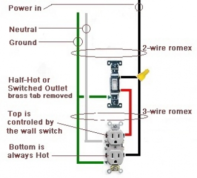 How To Wire A Switched Outlet - Half Hot Outlet
