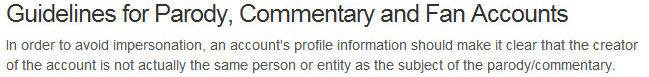 Guidelines for Parody, Commentary and Fan Accounts