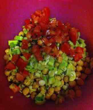 Chick Pea Salad with tomatoes, green onions and cucumbers