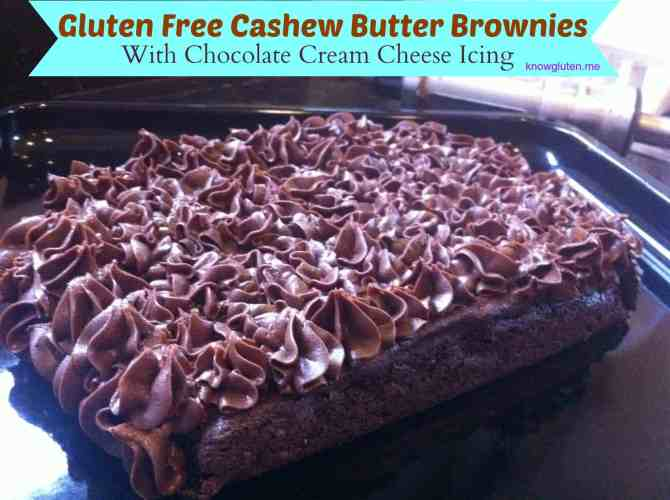 Gluten Free Cashew Butter Brownies with Chocolate Cream Cheese Icing from Knowgluten.me