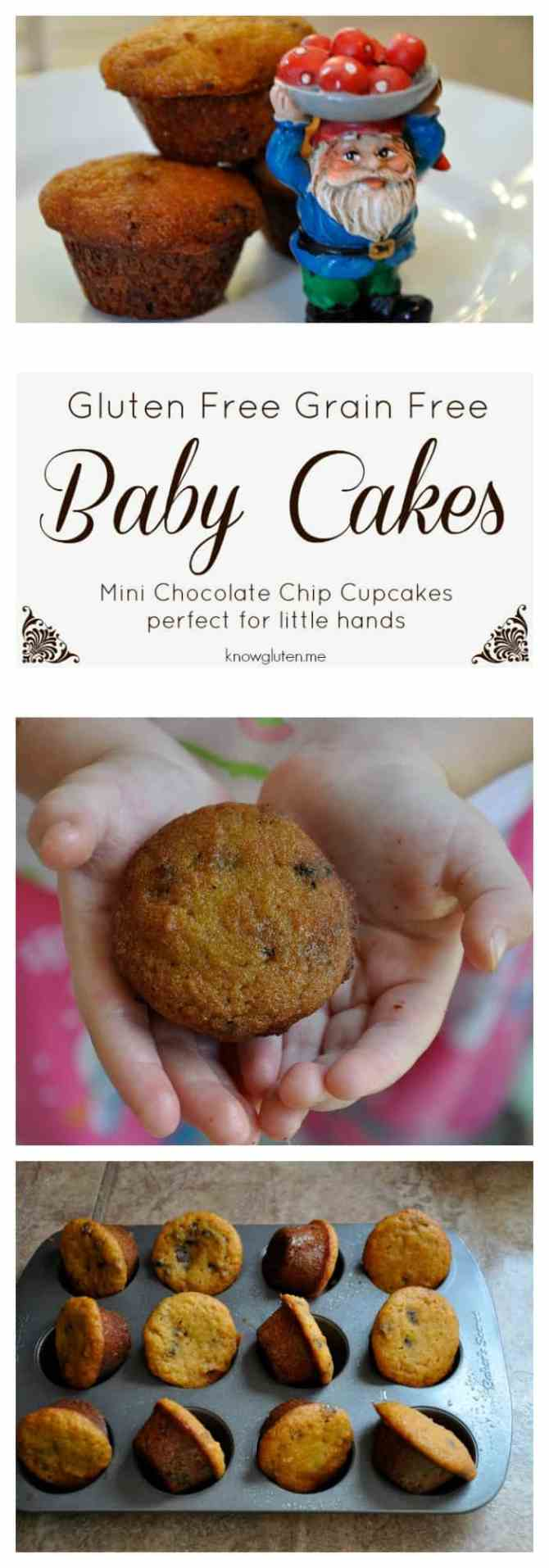 Gluten Free, Grain Free Baby Cakes - mini chocolate chip cupcakes made with coconut flour, perfect for snack time