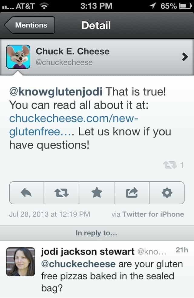 chuck e cheese tweet