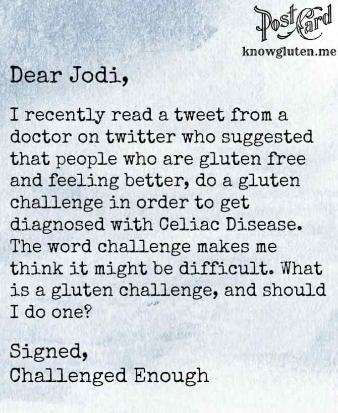 Should I do a gluten challenge postcard