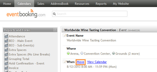 Moving Timeline Items with an Event - EventBooking Classic