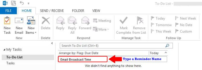 How To Set and Remove Reminders In Outlook 2013 step 2