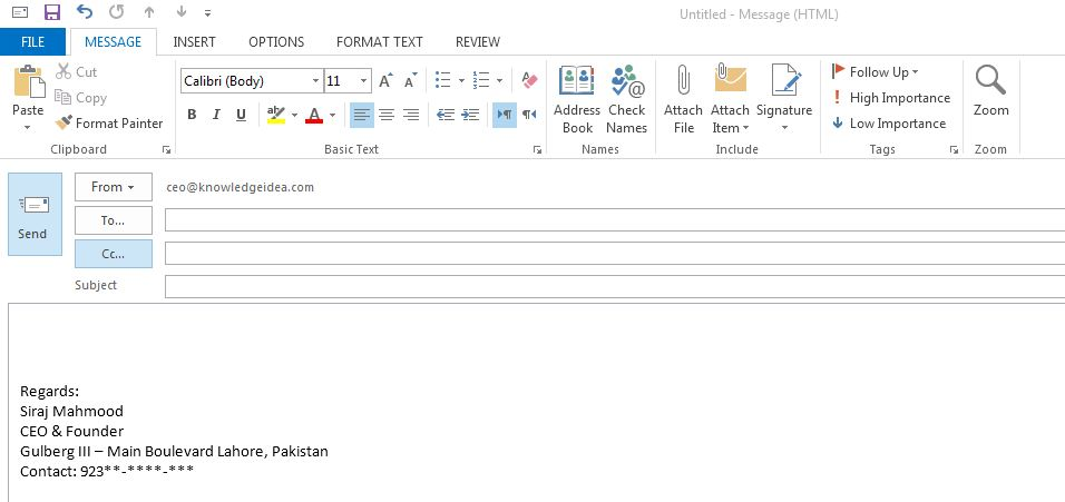 how to put email signature in outlook