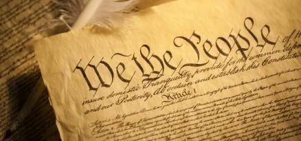 American Declaration of Independence with quill and parchment