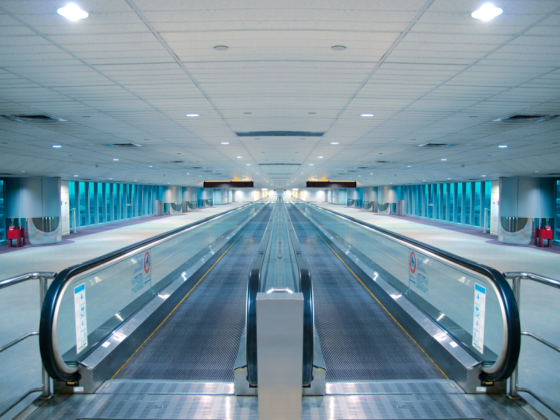 Travelator in airport