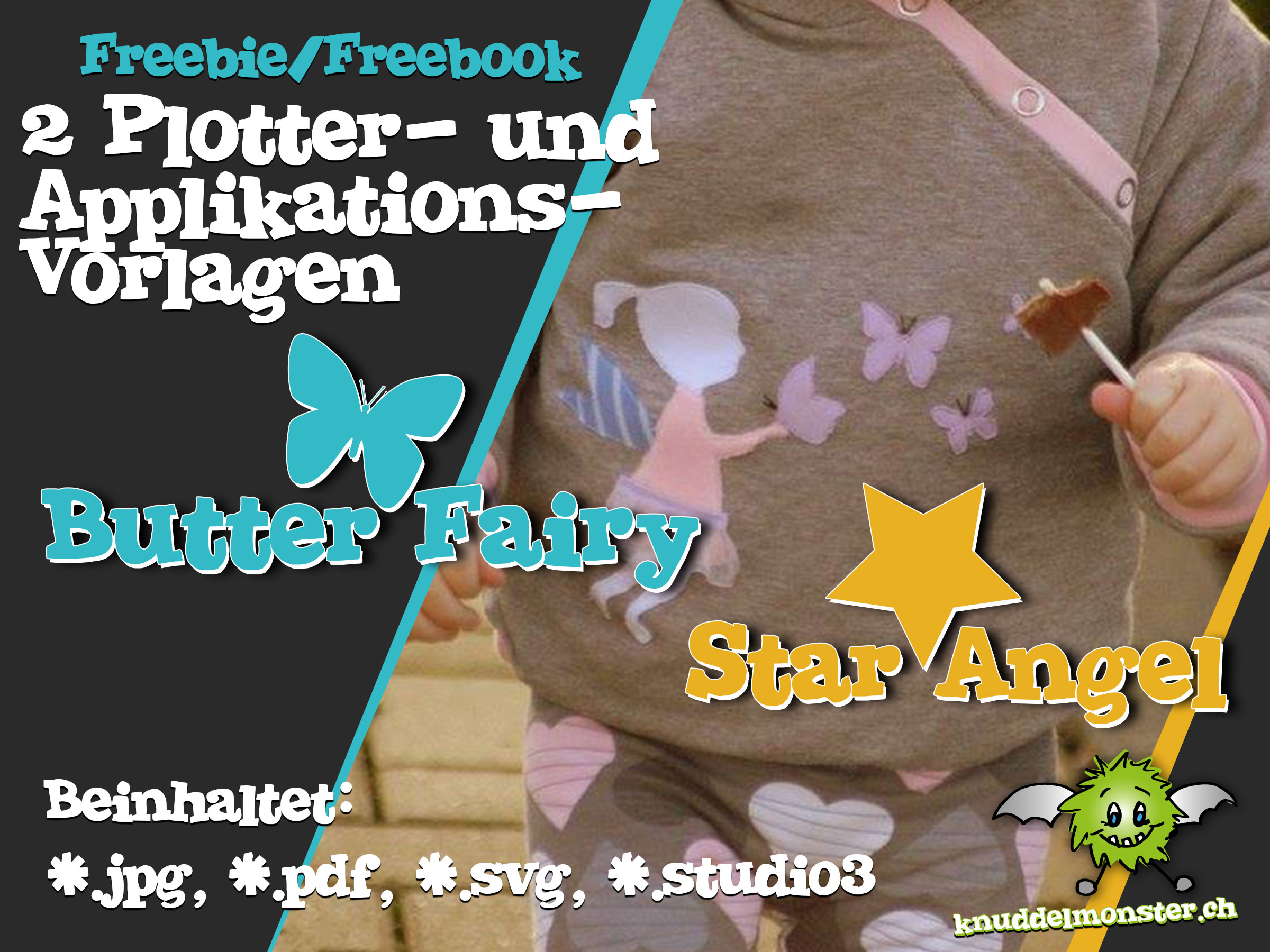 Schmetterling Applikation Vorlage Plotter Und Applikationsvorlage Butter Fairy Und Star