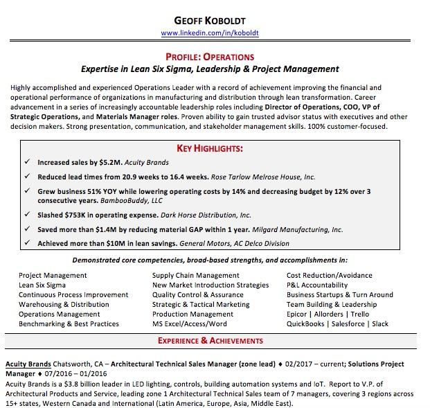 resume Geoffrey Koboldt - six sigma resume
