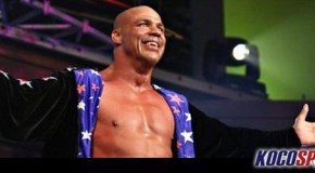 Kurt Angle suffers a pulled hamstring, but carries on wrestling