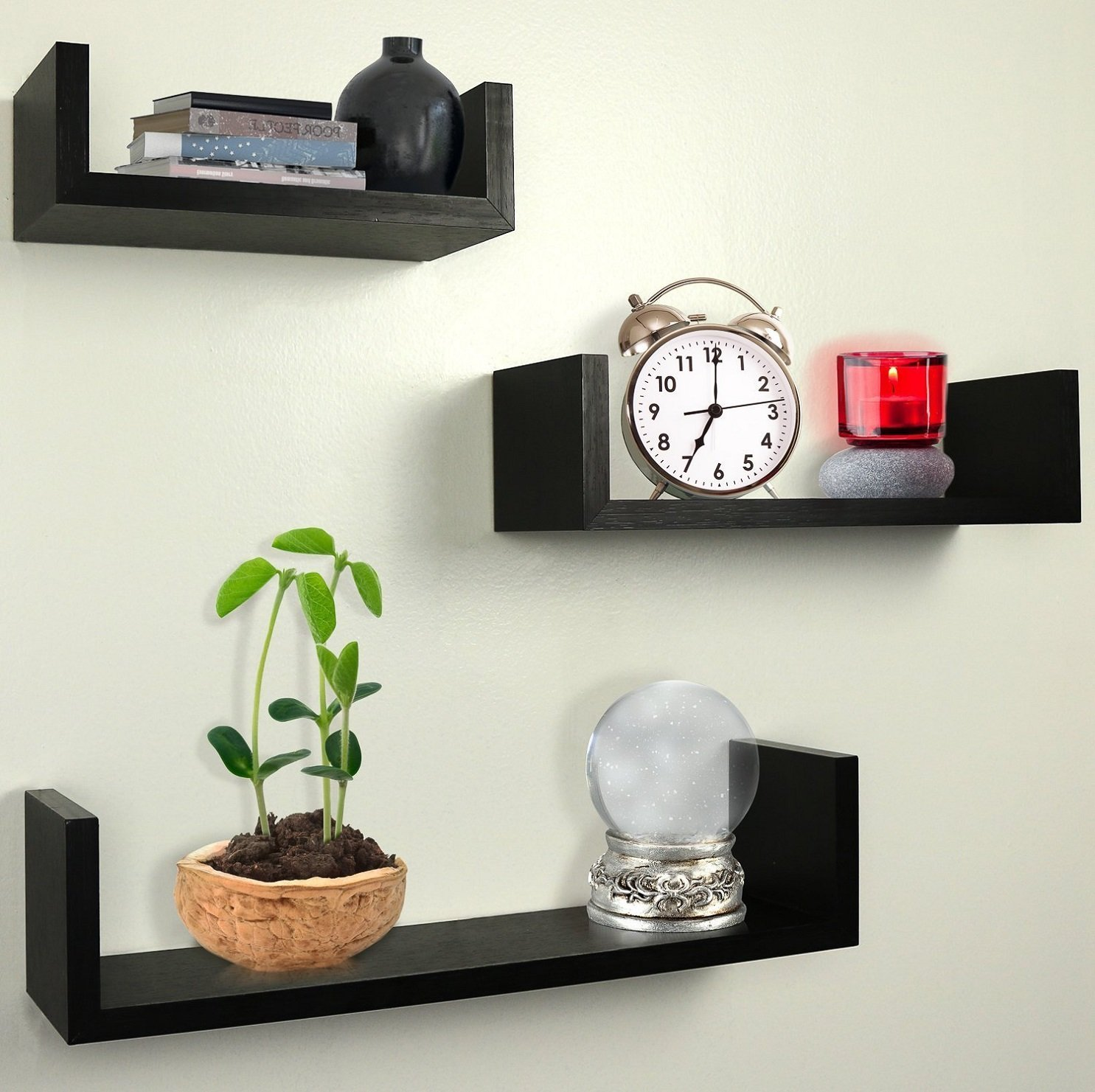 Wall Book Shelfs Set Of 3 Floating U Shelves Espresso Finish Home Decor