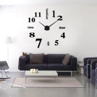 Modern Frameless Large 3D DIY Wall Clock Kit  Home Decor