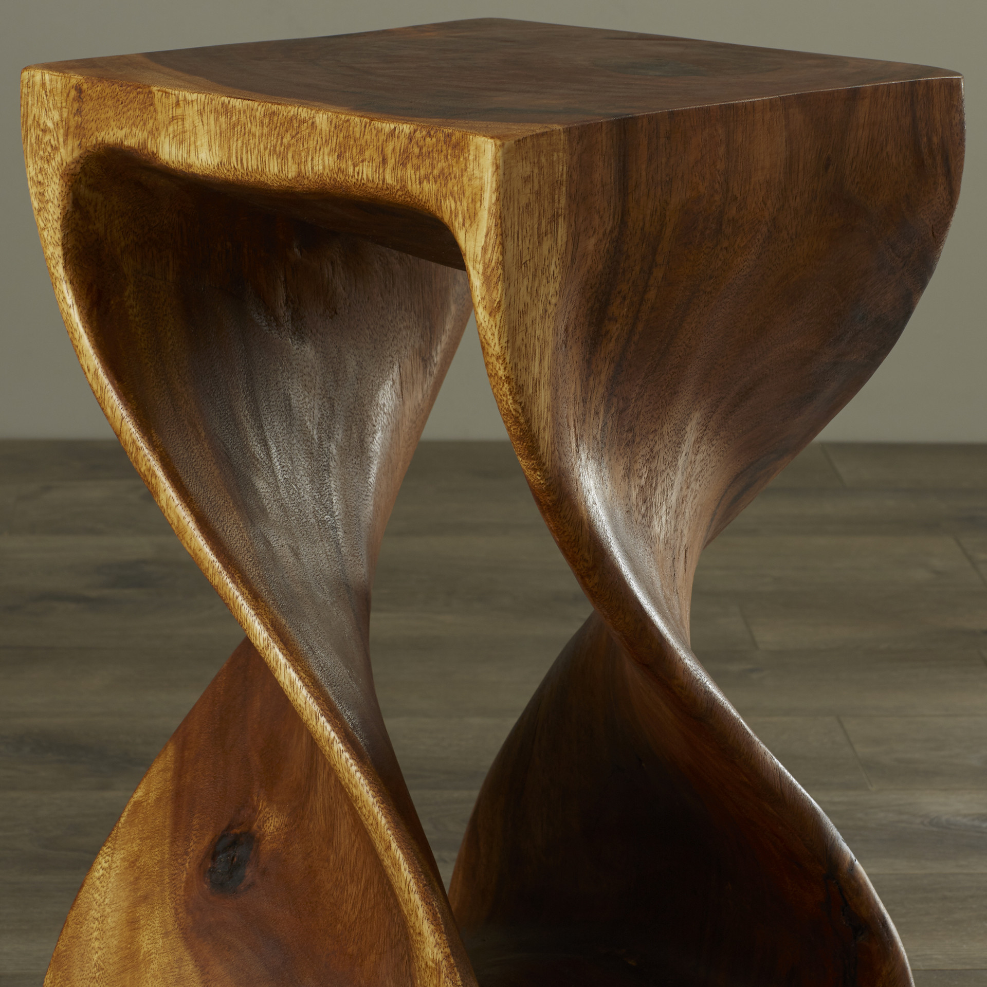 Twist End Table Wooden Twist Small Side Table Stool Lamp Plant Stand