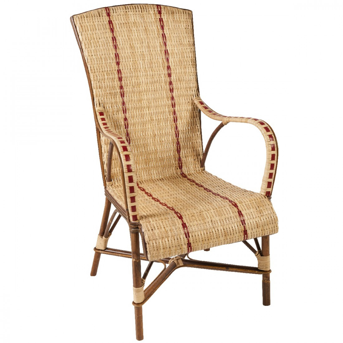 Fauteuils Anciens Bas Bagatelle High Back Rattan Armchair