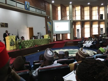 Mr. Tony Elumelu delivering a paper titled: Entrepreneurship, Corporate Social Responsibility and Africapitalism: The Role of the Private Sector in Fighting Poverty in Nigeria at the National Institute for Policy and Strategic Studies, Kuru , Plateau State  on Tuesday