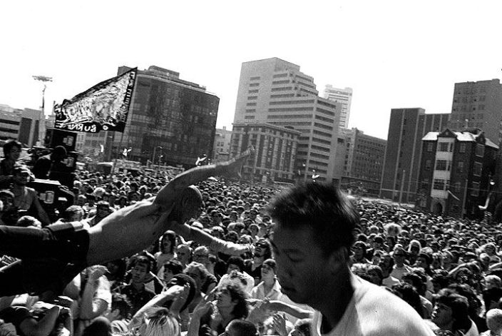 July-1984-stage-diver-at-rock-against-racism-concert-in-front-of-Democratic-Convention