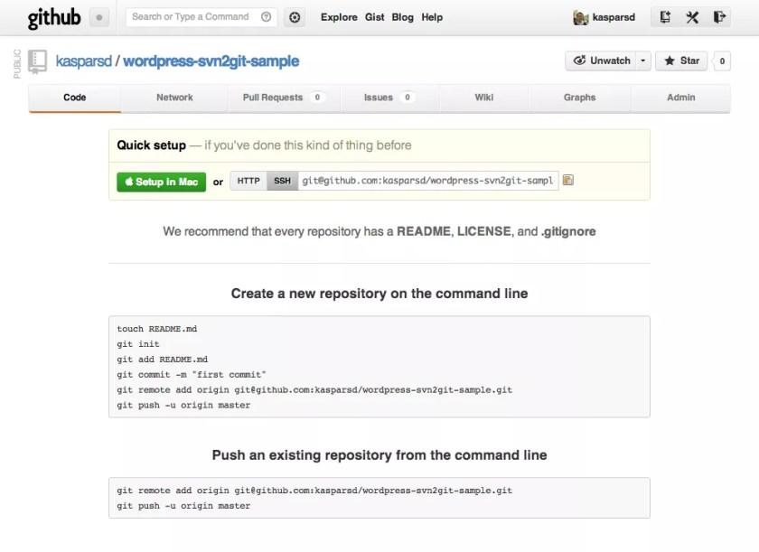 Новый репозиторий создан в GitHub