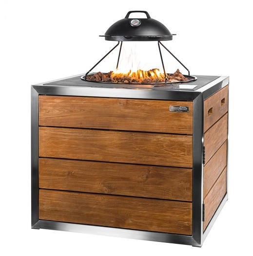 Lavastenen Barbecue Cocoon Table Vierkant Teakhout Lounge & Dining Rvs
