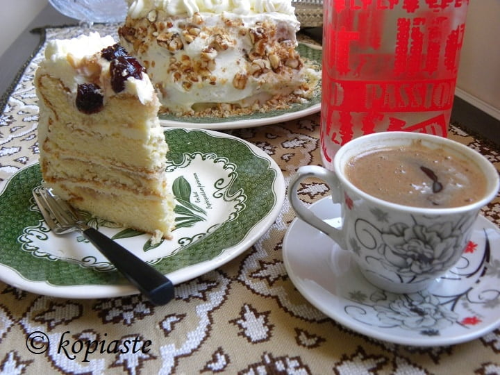 Greek coffee with cake