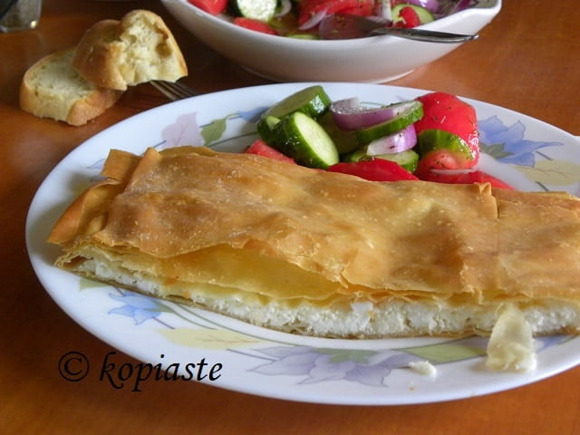 Tyropita (cheese pie) with Horiatiko phyllo