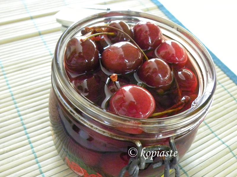 Pickled Cherries in jar 2