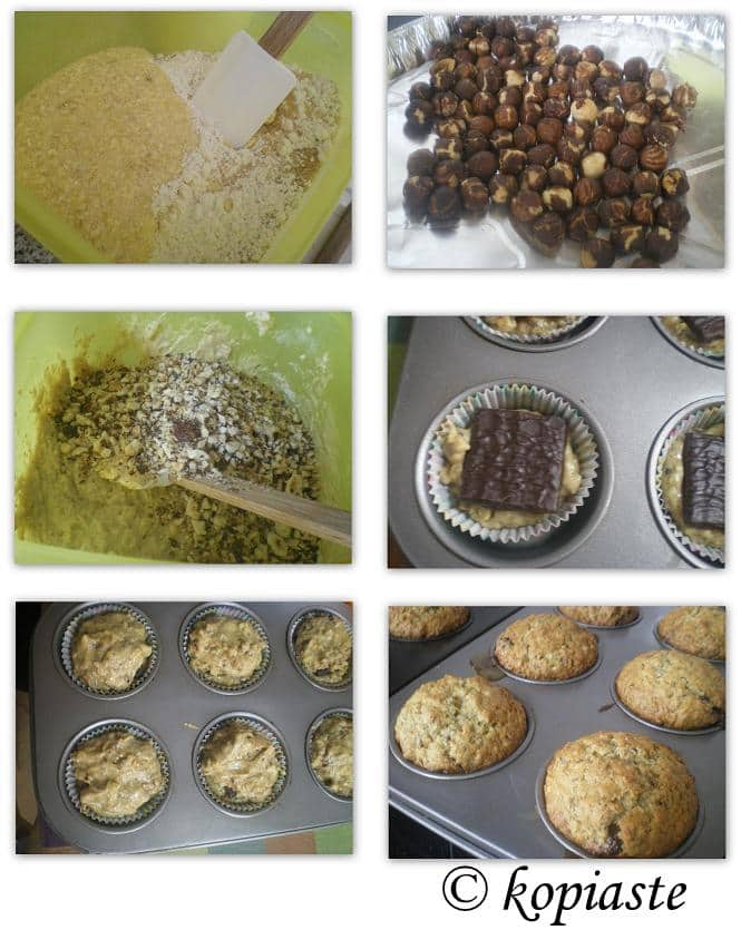 Collage banana and hazelnut muffins