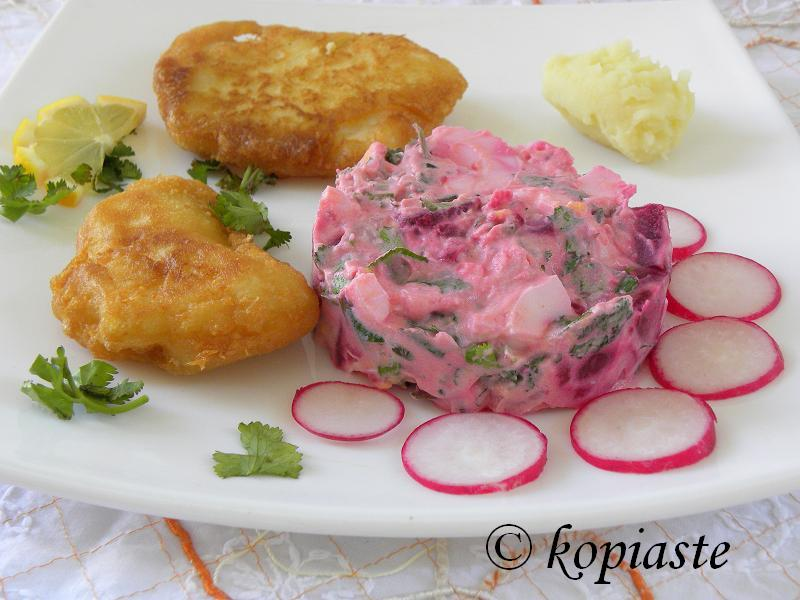 Beetroot salad with Cod