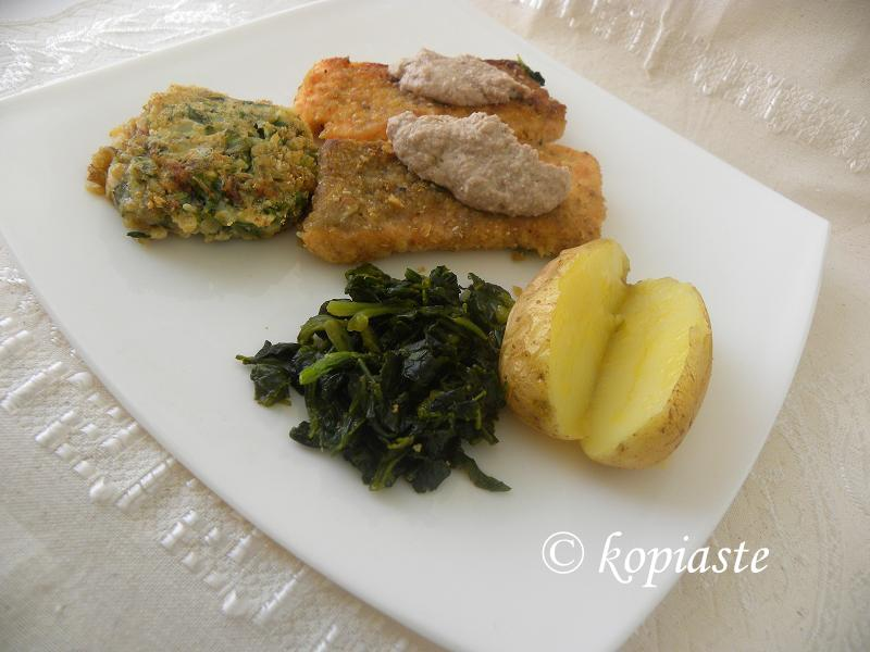 Salmon with orange spinach