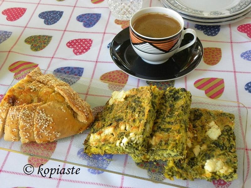 Coffee and Flaouna Tyropita and Spanakopita Plasto