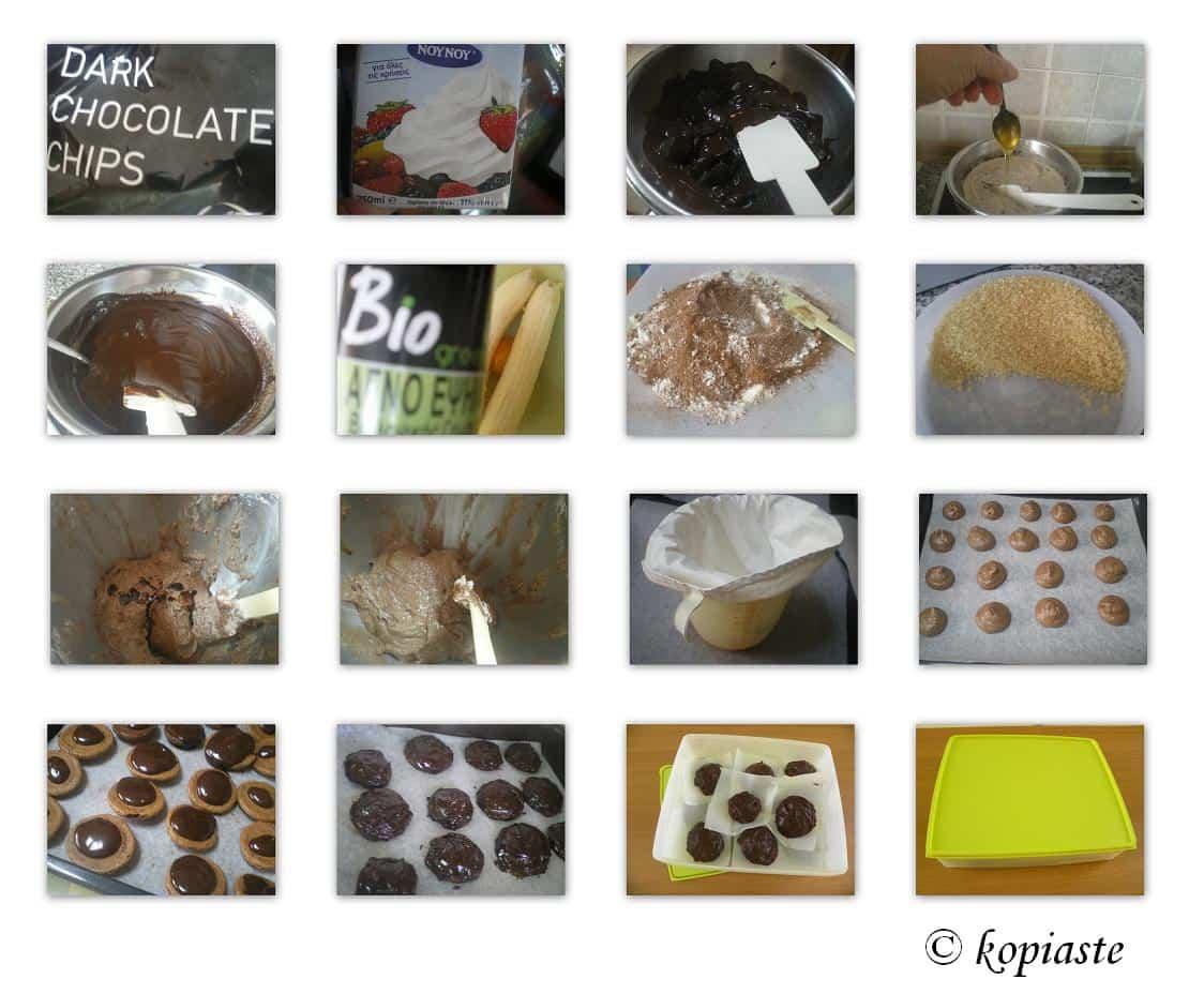 Collage chocolate amygdalota style cookies