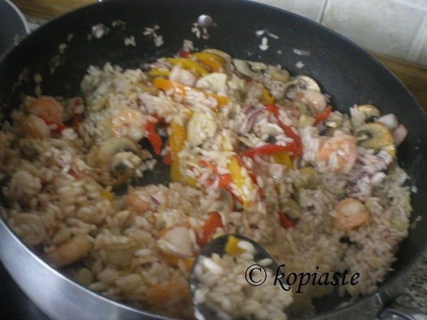 risotto with Kalamari shrimps and Leeks