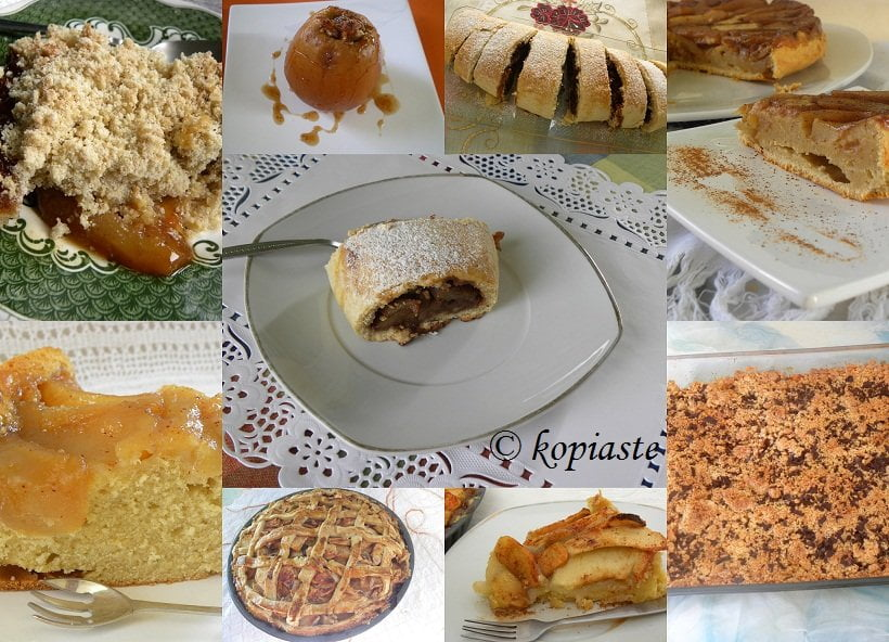 Collage with Apple pies