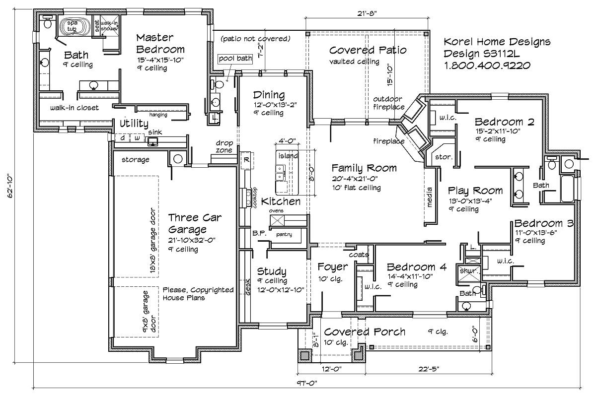 Bedroom Floor Layout S3112l Texas House Plans Over 700 Proven Home Designs