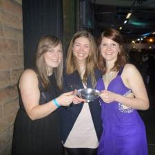 Left to right: President Ffion Jones, Secretary Ella Paul and Publicity and Alumni Officer Helena Corner with the Publicity Cup.