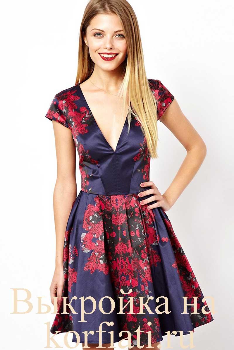 V-образный вырез на платье выкройка