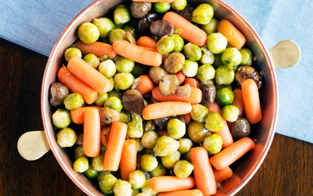 Glazed Brussels Sprouts, Carrots and Chestnuts